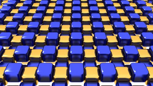 Blue And Gold Cubes Geometric