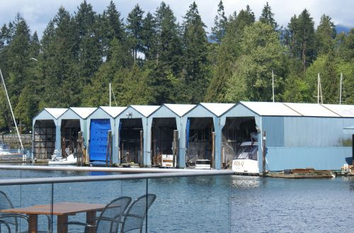 Blue Boathouses At Coal Harbour