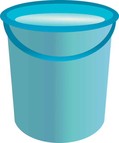 blue bucket tool container