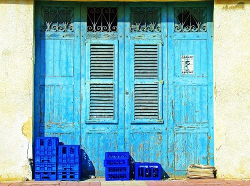 blue doors blue shutters weathered