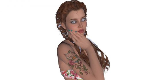blue eyes brown hair green nails