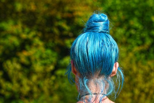 blue hair  hair  head