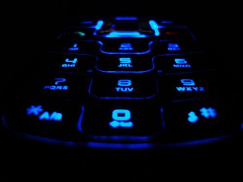 Blue Neon Mobile Phone Keypad