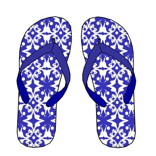 Blue Pattern Flip Flops
