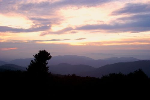 blue ridge mountains sunset multiple sky lines