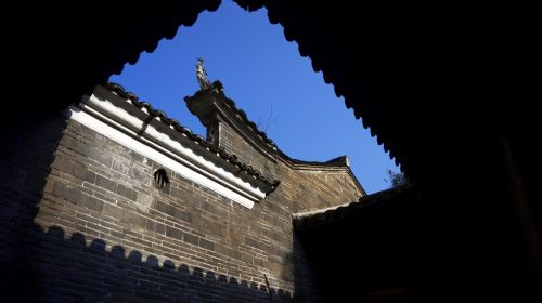 blue sky ancient architecture house