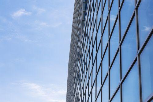blue sky tall buildings building