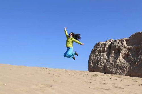 blue sky desert leap