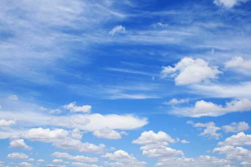 Blue Sky Filled With Loose Clouds