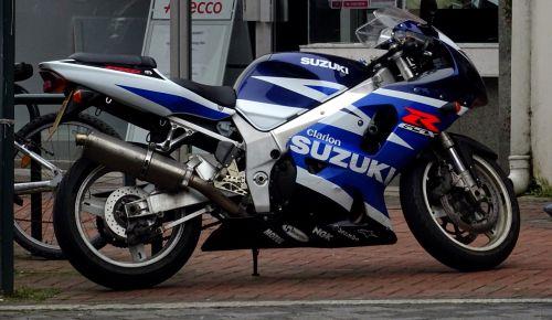 Blue White Suzuki Motorcycle