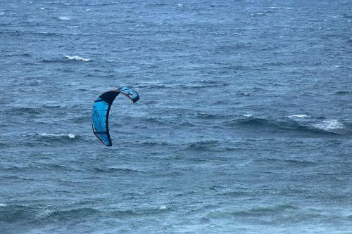 Blue Windsurfing Canopy Over Sea