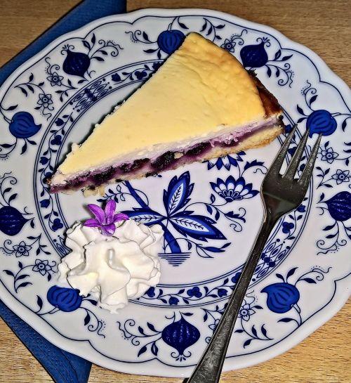 mėlynių tortas,su kvarco kremu,pyragaičiai,maistas,gabalėlis pyrago,grietinėlė,vaisių,saldus,skanus