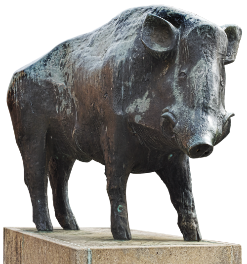 boar bronze statue animal figure