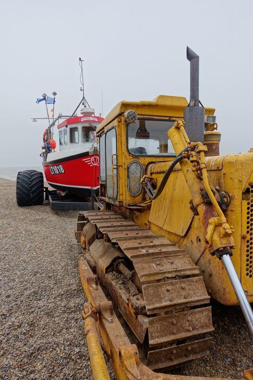 boat tractor seaside