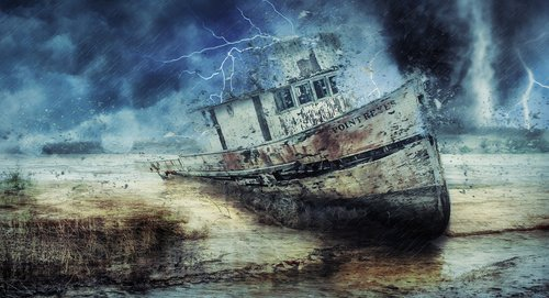boat  wreckage  storm