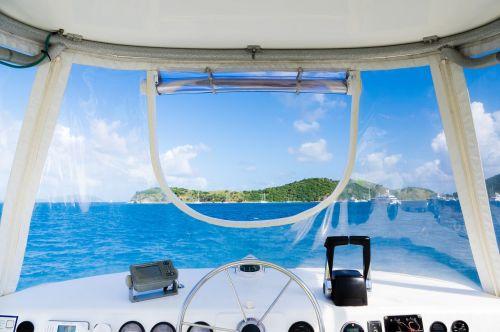 boat interior steering wheel