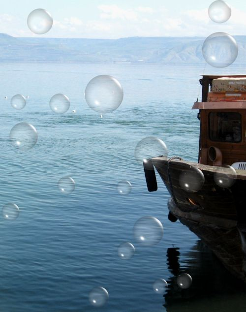 Boat And Bubbles In Lake