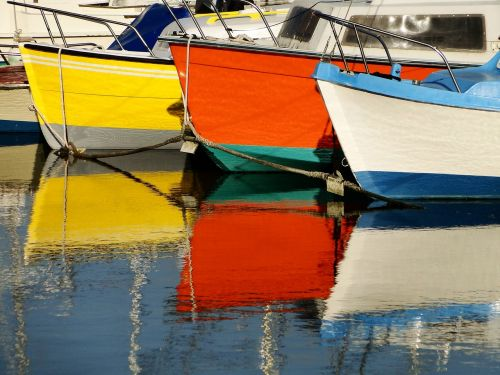 boats reflections colors