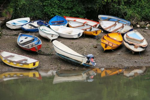boats colorful rowing boats