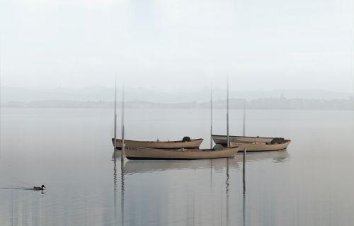 boats lake haze