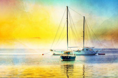 Boats Seascape Painting Sunrise