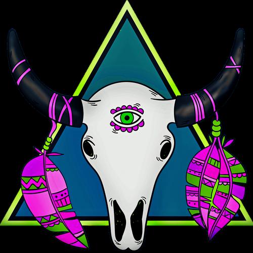 boho skull  feathers  evil eye