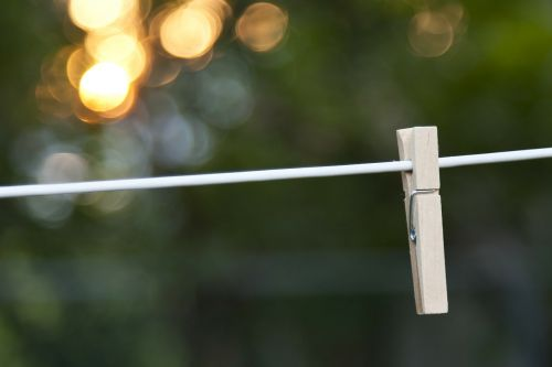 bokeh clothes pin clothes line
