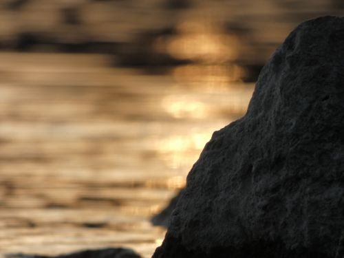 bokeh stone sunset