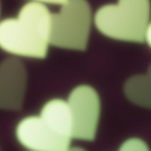 bokeh hearts green