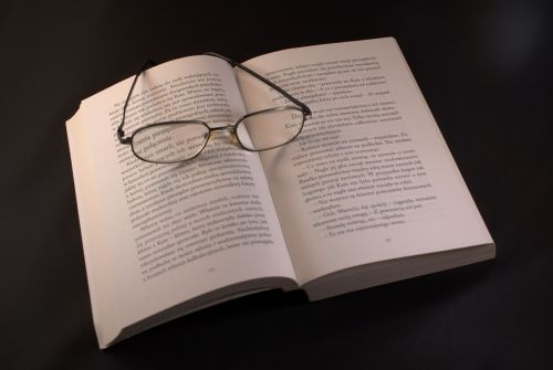 book glasses reading