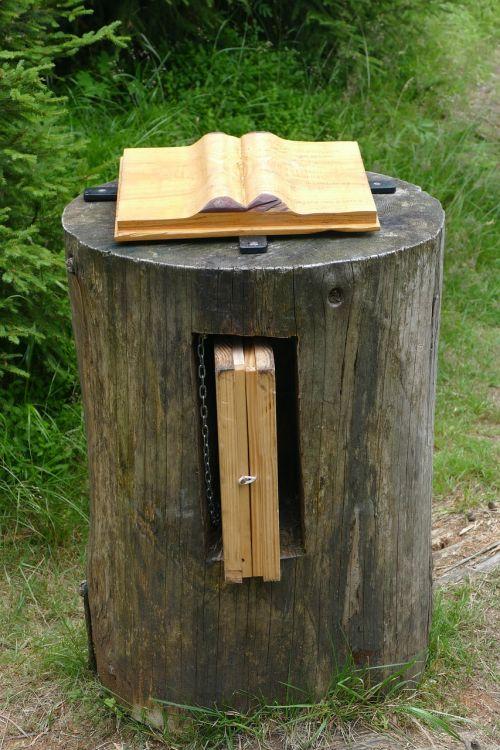 book tree stump myths path