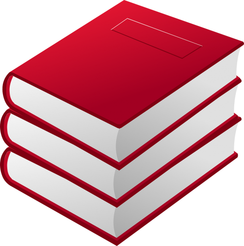 books pile red