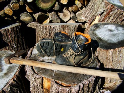 boots axe wood-cutting