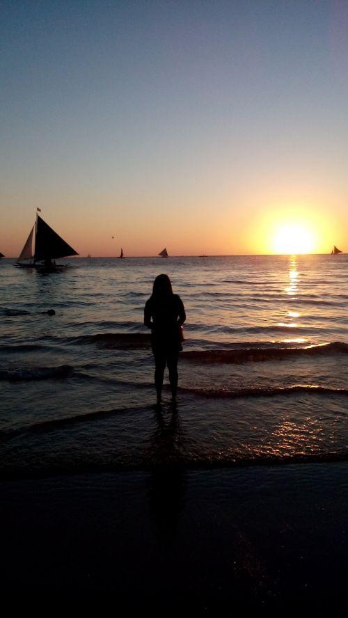boracay white sand beach sunset