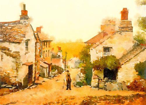 akvarelė, akvarelė, dažymas, scena, vaizdas, kraštovaizdis, vietos, lauke, vaizdingas, vaizdingas, Anglija, gamta, Šalis, kaimas, kaimas, kaimas, boscastle, cornwall, namai, gatvė, architektūra, boscastle kaimas