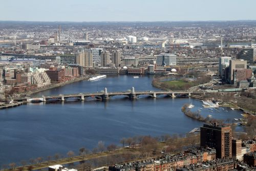 boston top view city