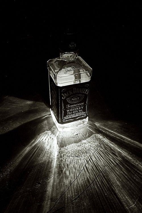 bottle light black white