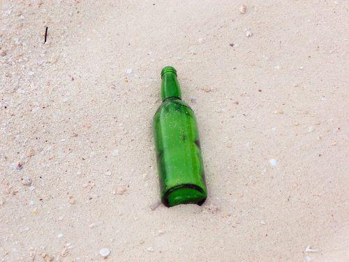 bottle sand beach