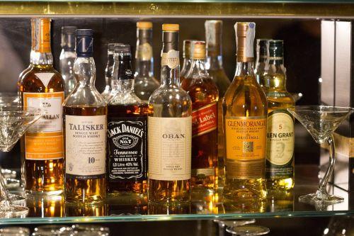 bottles whisky glass
