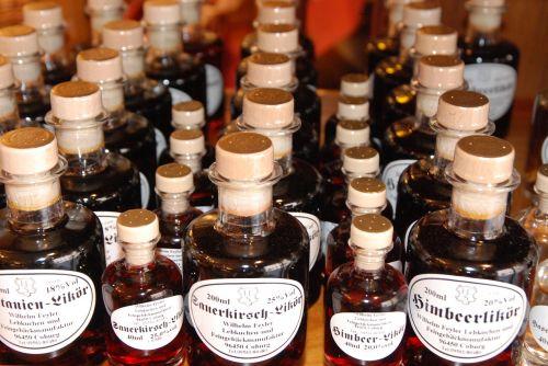 bottles liqueur alcohol