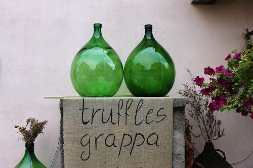 bottles grappa green
