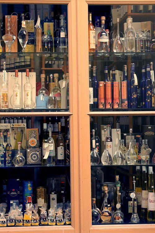 bottles brandy alcohol