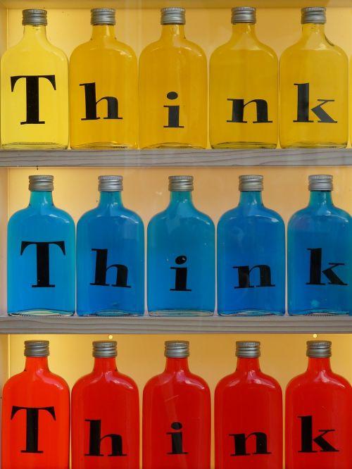 buteliai,įspaudas,stiklas,galvoti,geltona,mėlynas,raudona,spalvinga,spalva,gaudy