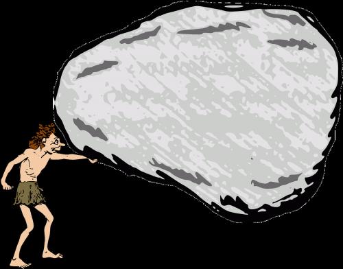 boulder caveman rock