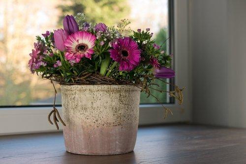 bouquet  purple  flowers