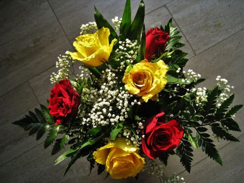 bouquet of roses red and yellow roses he loved flowers