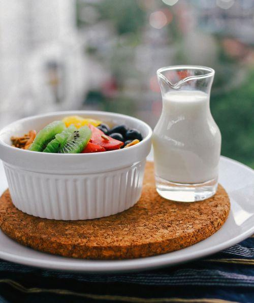 bowl fruit milk