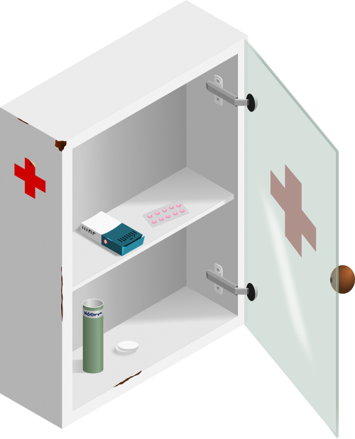 box first aid glass door