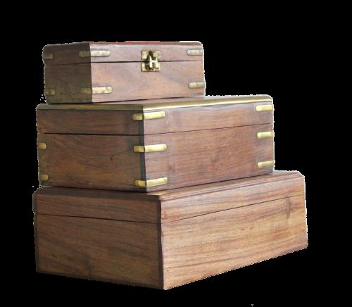 box wooden brass