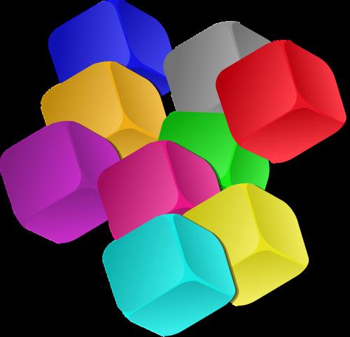 boxes dice rainbow